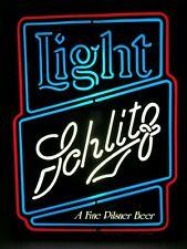 "Rare Vintage 1983 Schlitz Lighted Bar Sign 20"" Neon-Like Light Beer Ad Display"