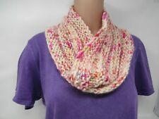 Handcrafted Knitted Cowl Shawl Wrap Ivory/Pink 100% Merino Wool Female Adult