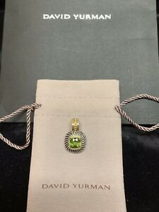 David Yurman Sterling Silver & 14K Good 7mm Peridot Albion Pendant / Enhancer.