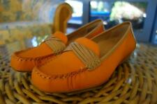 HUSH PUPPIES URCHIN LOAFER,SLIP ON FLATS,LEATHER,ORANGE TANG/NATURAL,9.5,$139