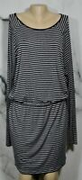 MICHAEL MICHAEL KORS Black Gray Striped Stretch Jersey Dress Large Long Sleeves