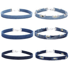 6 Pieces Collier Blue Distressed Frayed Denim Jeans Choker Necklace for Women