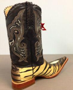 Los Altos Beige / Brown W / Tiger Design 3X Toe Cowboy Boots 955573 Size 9 EE