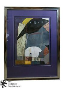 "1990s Michele Aaron Mixed Media Acrylic Abstract Modern Painting 47"" x 36"""
