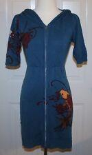 Gramm Blue Tattoo Koi Floral Asian Sweater Size Small Long Cardigan Short Sleeve