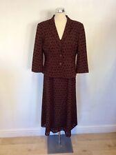 ALEX & CO BROWN FLORAL DESIGN DRESS AND JACKET SUIT SIZE 14