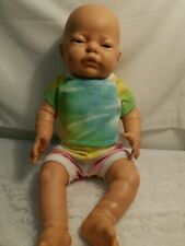 "Berjusa Anatomically Correct Baby Girl Doll 16"" Long Vinyl Preowned"