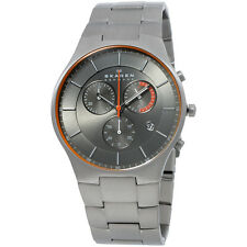 Skagen Chronograph Grey Dial Silver Titanium Men's Watch SKW6076