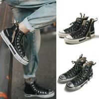 Youth Men's Classic High Top Casual Canvas Shoes Casual Sneakers Trainers Zipper
