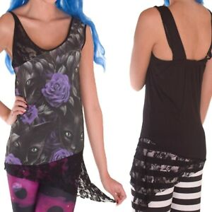 SPIRAL DIRECT THE WATCHERS LACE TOP T SHIRT TOP BLACK GOTHIC CAT ALTERNATIVE