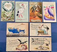 8 Good circa 1910 postcards STORKS DELIVERING BABIES.