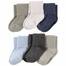 Luvable Friends Boy Basic Cuff Socks, 6-Pack, Gray and Blue