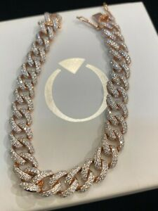 Pave 5.68 Cts Round Brilliant Cut Diamonds Cuban Link Bracelet In 750 18K Gold