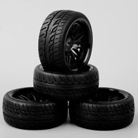 Set 4PCS BBNK 1/10 RC On Road Speed Racing Car Rubber Treaded Tires Tyre & Wheel