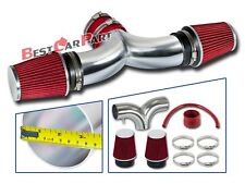 BCP RED 02-07 Dodge Ram1500 3.7L V6 /4.7L V8 Dual Twin Air Intake + Filter