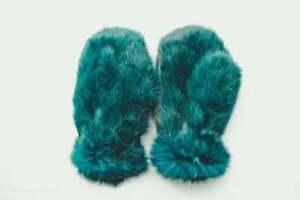 Rabbit Fur Gloves Women Hand Warmers Mens Mittens Gloves Hand Warmers (Green)