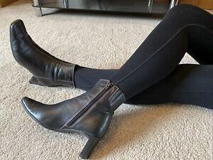 Clarks Black Super Soft Leather Ankle Boots Size 6 EUR 40