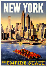 NEW YORK EMPIRE STATE A3 vintage retro travel & railways posters print #3
