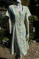 NIGHTINGALES Blue VTG Style Pink/Yellow Floral Cotton Tea Dress SZ 16 40's 50's