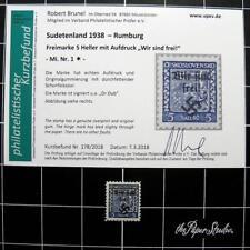 German WW2 Sudetenland/Rumburg stamp-CERTIFIED!-1938/HI CV-MH-Germany-Czech occu