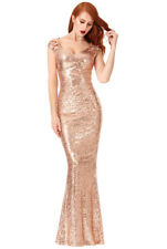 """Women""""s Goddiva Champagne Sequin Maxi Prom Wedding Bridesmaid Gown Party Dress"""