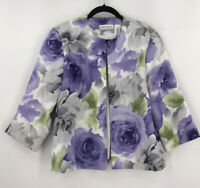 Alfred Dunner Purple Floral Open Front Jacket Blazer Sz 14 Petite 14P Lined