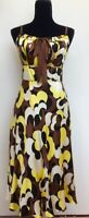 Monsoon Bold Floral Retro 70s Bias Cut 100% Silk Strappy Summer Midi Dress 12/14