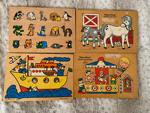 Vintage Toys toddler preschool age Wooden Puzzles Fisher Price