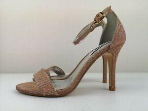 DUNE Women Ladies Nude Sparkle High Heel Strappy Sandal Shoe Size 4 37