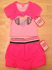 NWT Girls' French Toast Size 2T 2-PIECE Neon Pink MUSIC Top Skirt OUTFIT SET $28