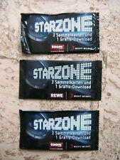 NEU 3x REWE Starzone Sammelkarten Päckchen Bild Geschenk Kinder Sammlung Karten