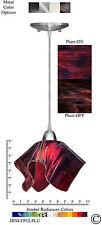 Jezebel Radiance Purple Plum Small Flame Pendant Light with Nickel Hardware