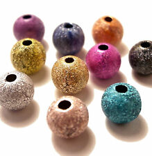 100 6mm Acrylic Stardust Metallic Glitter Spacer Beads Mixed Colours