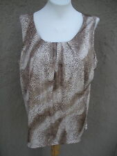 New Chico's Travelers Pamela Pleat Shimmer Neutral Animal Tank Top 3 = XL 16 NWT