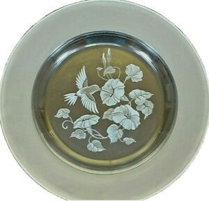Set of 4 Vintage Avon Hummingbird Collection French Crystal Dinner Plates