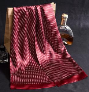 100% Silk Mulberry satin Scarf men neckerchief Wrap dot dark purplish red Gifts