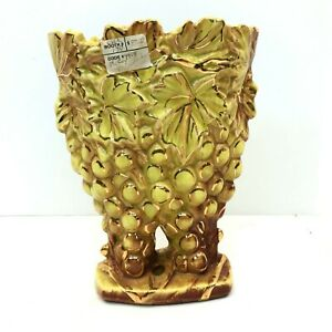 Vintage McCoy Double Grape Vase in Yellow-Green-Brown w/Gold Trim