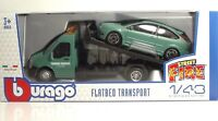 "Bburago 31404 Car Hauler w/Ford Focus ST ""Dull Green"" - METAL 1:43"
