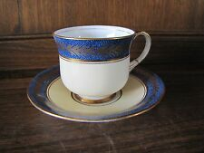 Aynsley Fine Bone China~Coffee Cup&Saucer~Cream, Cobalt, Feathered Gilt Rg776491