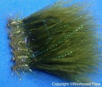 6 Origional Gold Head UV Olive Damsel Mini Lures Trout Flies Size10