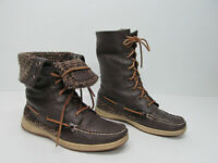 """Spery Top-Sider Ladyfish Brown Leather 9"""" Lace Up Ankle Boots Size Womens 8M"""