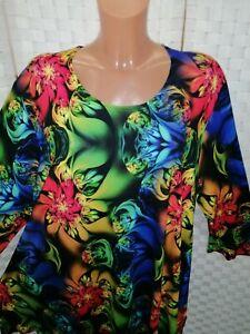 Naveed Tunika Shirt ca 52 54 (3) blumig bunt  NEU A-Linie
