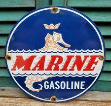 Vintage Marine Seahorse Porcelain Sign Gas Oil Service Station Pump Plate