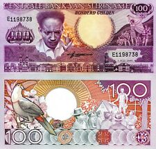 SURINAME 100 Gulden Banknote World Paper Money UNC Currency Pick p133a 1986 Bill