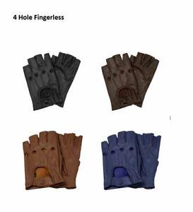 Genuine Leather Driving Fingerless Gloves Chauffer fashion