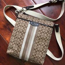 BRAND NEW Coach Signature Khaki Brown Jacquard Crossbody Swingpack Messenger Bag