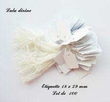 100 étiquettes à fil en coton blanc / Etiquette pour prix : 18 x 29 mm