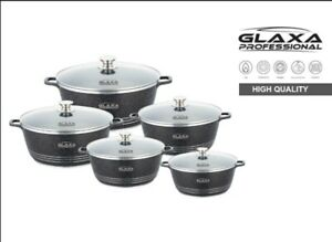 5 pc Marble Coated Cookware Set Non Stick Stockpot Casserole Cooking Pot & Lid