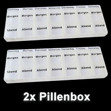 2x Pillenbox 7 Tage - 2 Fächer/Tag Pillendose Tablettenbox Medikamentenbox Box