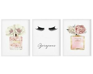 Fashion Prints,Fashion Art Print,Wall Art,Set of 3,Blush Pink Floral Perfume